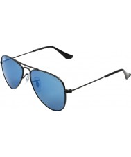 RayBan Junior Rj9506s 50 lotnik matte black 201-55 niebieskie lustrzane okulary