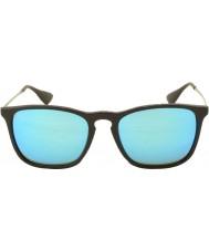 RayBan Rb4187 54 Chris czarny 601-55 niebieskie lustrzane okulary