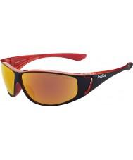 Bolle Highwood błyszczące czarne czerwone okulary spolaryzowane TNS ogień