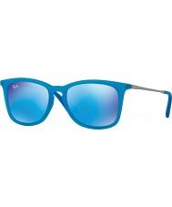 RayBan Junior Rj9063s 48 Azure fluo przezroczyste gumowe 701155 lustrzane okulary