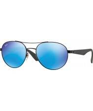 RayBan Rb3536 55 Highstreet matte black 006-55 niebieskie lustrzane okulary