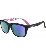Bolle 527 kolekcja retro matowe czarne grafiki spolaryzowane okulary niebiesko-fioletowe