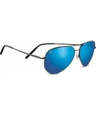 Serengeti Średni lotnik błyszczące ciemne gunmetal spolaryzowane 555nm niebieskie lustrzane okulary