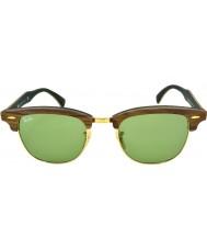RayBan Rb3016m 51 Clubmaster gumowe drewna orzechowego zielone 11824e okulary