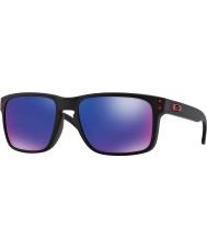 Oakley Oo9102-36 Holbrook czarny matowy - czerwony iryd okulary