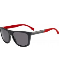 HUGO BOSS Mężczyźni Boss 0834-S HWS 3h ciemnoszarych czerwonych spolaryzowane okulary