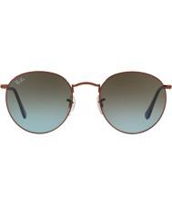 RayBan Rb3447 53 okrągłe metalowe błyszczące ciemne okulary brązowe 900396