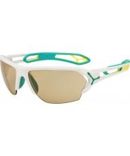 Cebe S-track duży biały matowy turkusowy variochrom Perfo okulary z 500 jasny obiektyw zastępczej