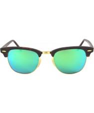 RayBan Rb3016 51 Clubmaster piasku szylkret złota 114519 zielone lustrzane okulary