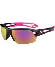 Cebe S-track średnio błyszczące czarne magenta 1500 szary lustro różowe okulary z jasnym obiektywem zastępczej