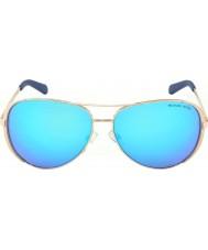 Michael Kors Mk5004 59 chelsea różowe złoto 100.325 niebieskie lustrzane okulary